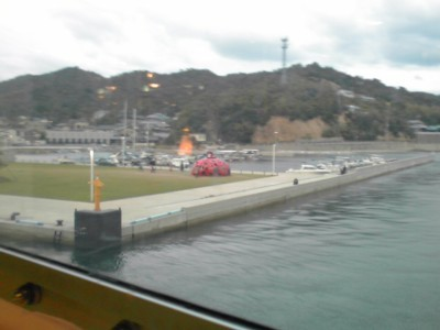 直島 宮浦港 草間彌生「赤かぼちゃ」2010年10月29日2