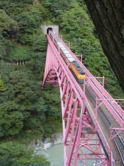 やまびこ展望台からみた新山彦橋とトロッコ電車