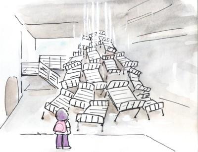 「塩田千春展 流れる水」  展示風景